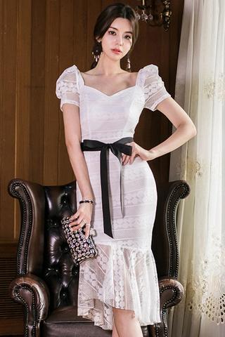 BACKORDER - Kerrisa Puff Sleeve Crochet Dress In White