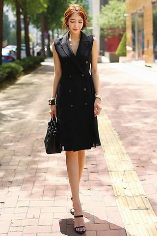 BACKORDER - Koris Collar Double Breasted Dress In Black