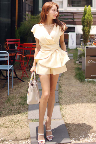 BACKORDER - Lesvia Peplum Top With Short Set In Pale Yellow