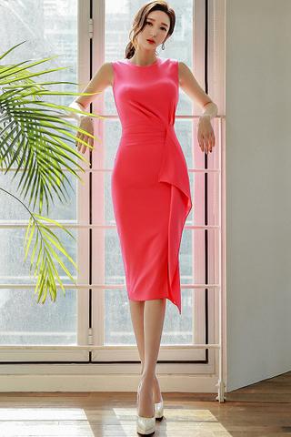 BACKORDER - Mayalle Sleeveless Cascade Dress In Bright Pink