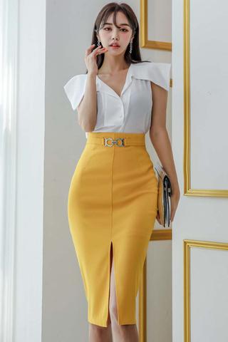 BACKORDER - Trina Cutout Sleeve With Slit Skirt Set
