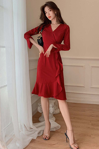 BACKORDER - Ashire Sleeve Ruffle Hem Dress
