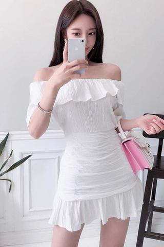 BACKORDER - Kayile Off Shoulder Top With Skirt Set In White