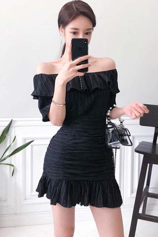 BACKORDER - Kayile Off Shoulder Top With Skirt Set In Black
