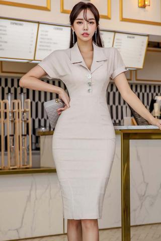 BACKORDER - Marishe Collar Button Midi Dress
