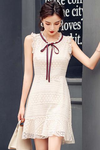 INSTOCK - Natahsa Sleeveless Crochet Ruffle Dress In Cream