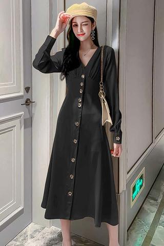 BACKORDER - Fervin Single Breasted Dress In Black