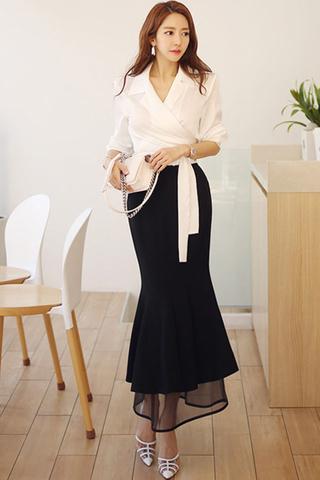 BACKORDER - Lydia Collar Shirt With Mesh Hem Skirt Set