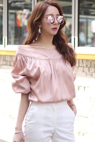 INSTOCK - Asmine Cold Shoulder Sleeve Top In Pearl Pink