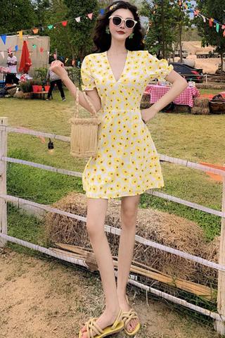 INSTOCK - Avella V-Neck Sunflower Printed Dress (Short)
