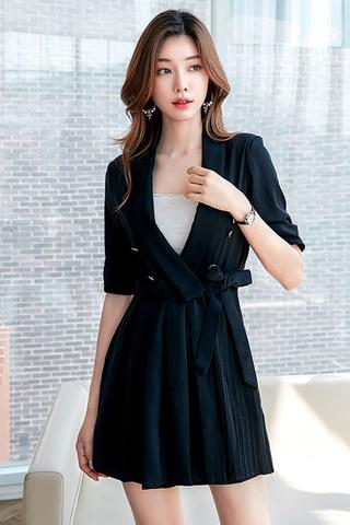 BACKORDER - Irene Sleeve Pleated Side Tie Romper In Black