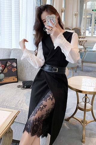 BACKORDER - Jealle Sleeve Lace Hem Dress