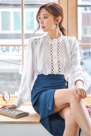 BACKORDER - Amanda Cutout Top With Slit Skirt Set