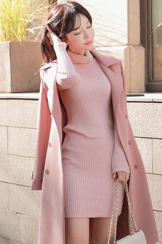 BACKORDER - Camile Knit Sleeve Turtleneck Dress In Pink