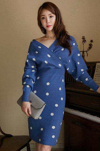 BACKORDER - Ellba Sleeve Polka Dot Knit Dress In Blue