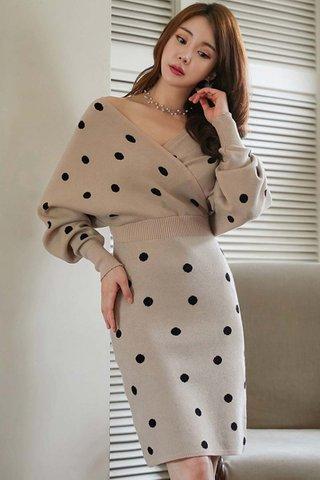 BACKORDER - Ellba Sleeve Polka Dot Knit Dress In Cream