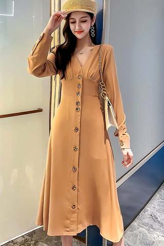 BACKORDER - Fervin Single Breasted Dress In Khaki