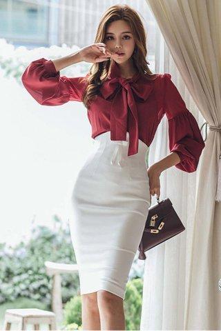 BACKORDER - Kelene Ribbon Tie Top With Skirt Set