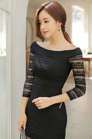 BACKORDER - Kia Off Shoulder Crochet Midi Dress In Black