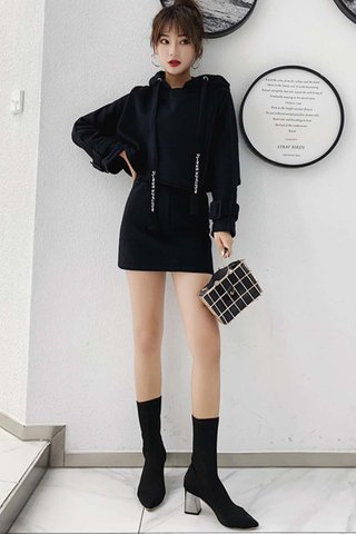 BACKORDER - Klosa Oversized Hoodie Top With Skirt Set