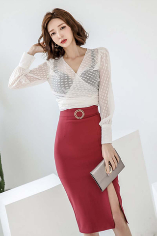 BACKORDER - Panisa Sheer Top With Slit Skirt Set