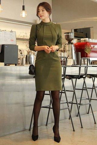 BACKORDER - Alette Foldover Sleeve Dress In Olive Green