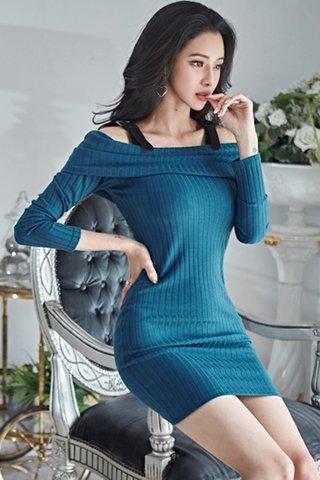 BACKORDER - Alsanda Cold Shoulder Knit Dress In Ocean Green