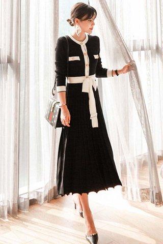BACKORDER - Judey Sleeve Knit Pleated Dress