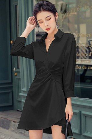 BACKORDER - Alara Sleeve Collar Gathered Dress In Black