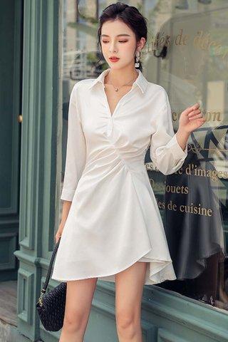 BACKORDER - Alara Sleeve Collar Gathered Dress In White