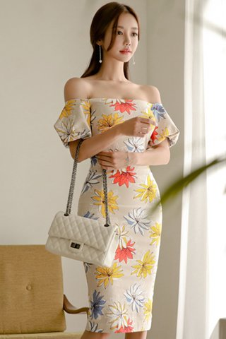 BACKORDER - Alarey Floral Print Puff Sleeve Dress In Beige
