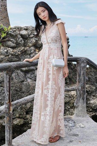 BACKORDER - Anisa V-Neck Embroidery Overlay Dress