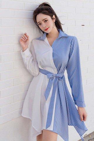 BACKORDER - Astella Sleeve Colorblock Shirt Dress
