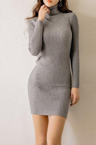 BACKORDER - Camile Knit Sleeve Turtleneck Dress In Grey