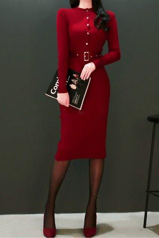 BACKORDER - Drena Sleeve Midi Back Slit Dress In Wine Red