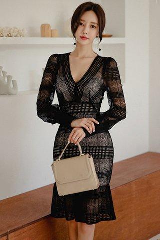 BACKORDER - Ester Crochet Ruffle Hem Dress In Black