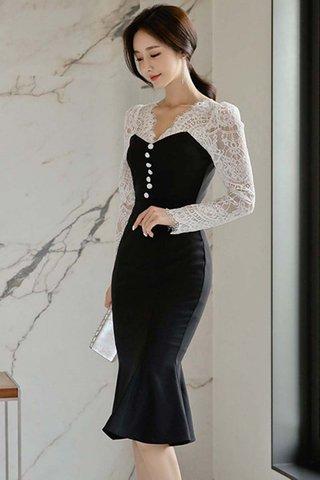 BACKORDER - Eunice Lace V-Neck Ruffle Hem Dress