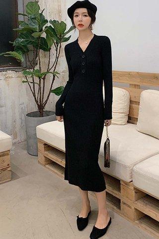 BACKORDER - Jeslyn Sleeve Knit Buttoned Dress In Black