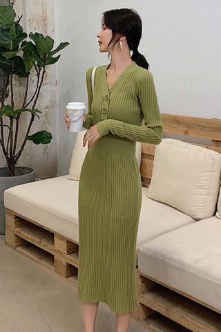 BACKORDER - Jeslyn Sleeve Knit Buttoned Dress In Green