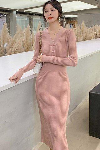 BACKORDER - Jeslyn Sleeve Knit Buttoned Dress In Pink