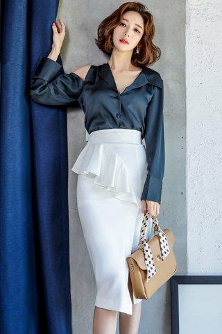 BACKORDER - Kaslyn Cold Shoulder Top With Ruffle Skirt Set