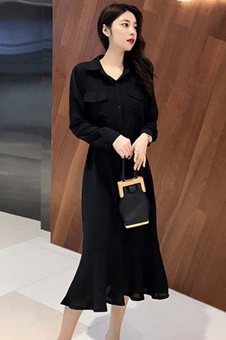 BACKORDER - Kianca Ruffle Hem Shirt Dress In Black