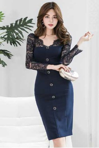 INSTOCK - Klerith Lace Sleeve Button Dress