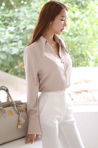 BACKORDER - Maysel Collar Keyhole Sleeve Shirt In Light Grey