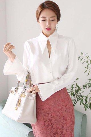 BACKORDER - Maysel Collar Keyhole Sleeve Shirt In White