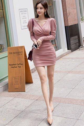 BACKORDER - Ralera Sleeve Ruched Dress In Pink