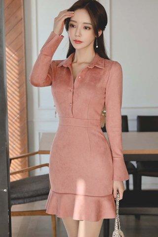 BACKORDER - Riney Sleeve Ruffle Hem Dress