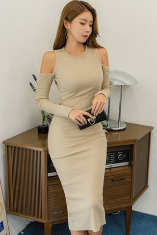 BACKORDER - Talvea Cutout Shoulder Sleeve Dress In Khaki