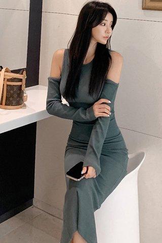 BACKORDER - Talvea Cutout Shoulder Sleeve Dress In Olive Green