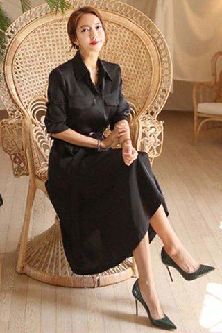 BACKORDER - Taneth Collar Sleeve Midi Dress In Black